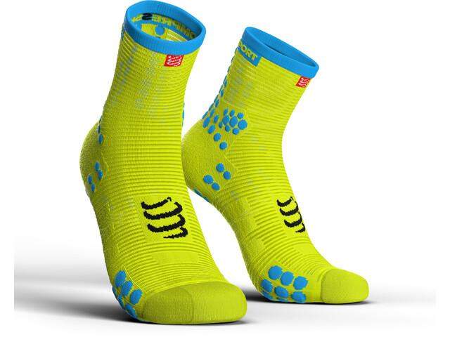 Compressport Pro Racing V3.0 Run Chaussettes Hautes, fluo yellow